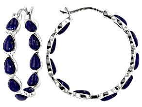 Blue lapis lazuli rhodium over silver earrings