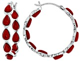 Red coral rhodium over silver hoop earrings