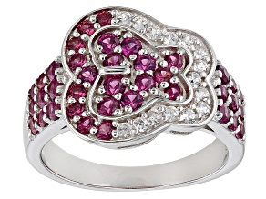 Purple Raspberry Color Rhodolite Rhodium Over  Silver Ring 1.56ctw