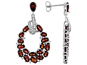 Red garnet rhodium over silver earrings 8.67ctw
