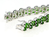 Green chrome diopside rhodium over silver bracelet 19.89ctw
