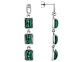 Green malachite rhodium over sterling silver dangle earrings