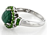 Green malachite rhodium over silver ring .57ctw