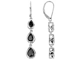 Black spinel rhodium over silver earrings 2.78ctw