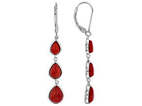 Red coral rhodium over silver earrings