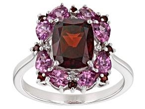 Red garnet rhodium over sterling silver ring 3.69ctw