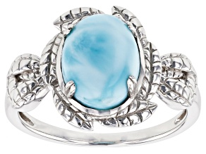 Blue larimar rhodium over sterling silver solitaire ring