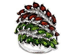 Red Garnet & Green Chrome Diopside Rhodium Over Sterling Silver Ring 6.28ctw