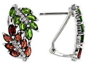 Red Garnet & Green Chrome Diopside Rhodium Over Sterling Silver Earrings 2.51ctw