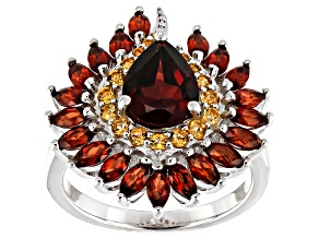 Red garnet rhodium over sterling silver ring 3.20ctw