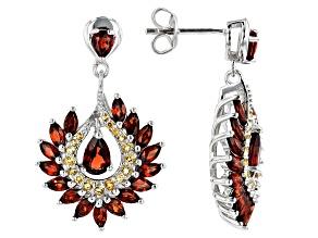 Red garnet rhodium over sterling silver dangle earrings 4.40ctw