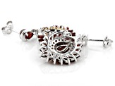 Red garnet rhodium over sterling silver dangle earrings 4.40ctw