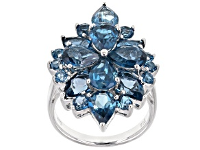 London Blue Topaz Rhodium Over Sterling Silver Ring 8.05ctw