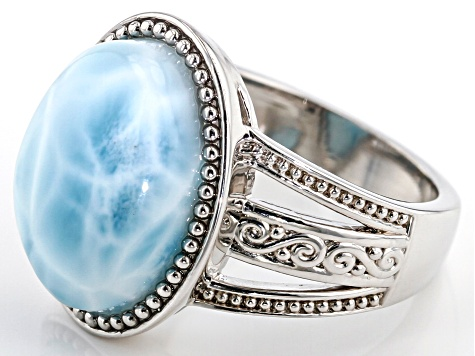 Blue Larimar Rhodium Over Sterling Silver Ring