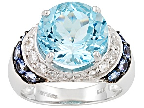Blue topaz rhodium over sterling silver ring 8.7ctw