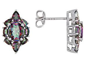 Multi-color quartz rhodium over sterling silver stud earrings 2.52ctw