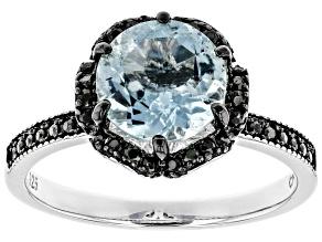 Blue aquamarine rhodium over sterling silver ring 1.78ctw
