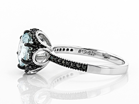 Blue aquamarine rhodium over sterling silver ring 1.78ctw