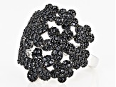 Black spinel rhodium over silver ring 1.84ctw