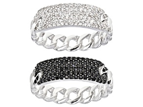 Black spinel rhodium over silver set of 2 rings 1.55ctw