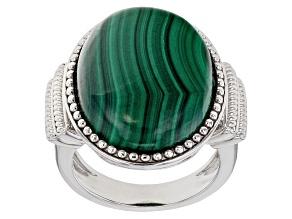 Green malachite rhodium over sterling silver ring