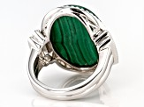Green malachite rhodium over sterling silver ring