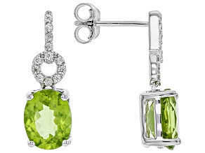 Green Peridot Rhodium Over Sterling Silver Earrings 3.52ctw