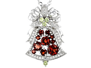 Red garnet rhodium over silver Christmas bell slide with chain 1.87ctw