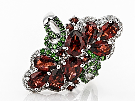 Red garnet rhodium over silver ring 4.79ctw