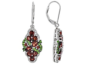 Red garnet rhodium over silver earrings 3.75ctw