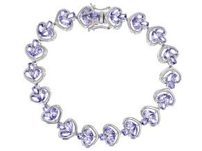 Blue tanzanite rhodium over silver bracelet 7.80ctw