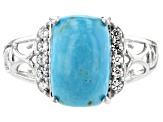 Blue turquoise rhodium over sterling silver ring .50ctw