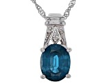 Blue teal Chromium Kyanite Rhodium Over Silver pendant with chain 2.74ctw