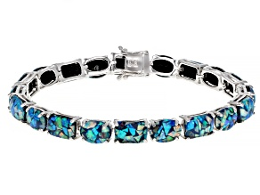 Multi-color Opal Triplet Rhodium Over Sterling Silver Bracelet