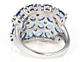 Blue spinel rhodium over sterling silver ring 3.71ctw