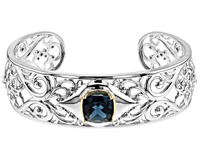 Blue topaz rhodium over silver bracelet 4.90ctw