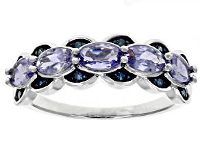 Blue tanzanite rhodium over silver ring 1.03ctw