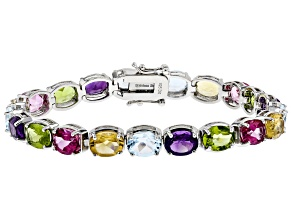 Multi-color Gemstone Rhodium Over Silver Bracelet 24.91ctw