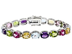 Multi-color Gemstone Rhodium Over Silver Bracelet 24.91ctw