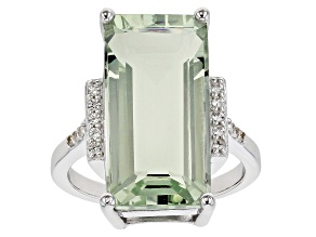 Green prasiolite rhodium over sterling silver ring 9.93ctw