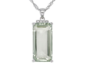 Green prasiolite rhodium over silver pendant with chain 10.63ctw