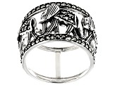 Gray marcasite sterling silver ring