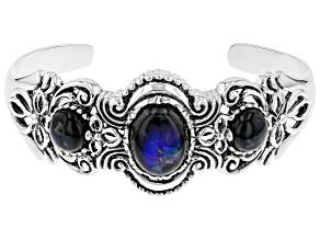 Gray Labradorite rhodium over silver cuff bracelet