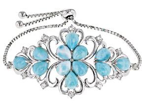 Blue larimar rhodium over silver bolo bracelet .99ctw