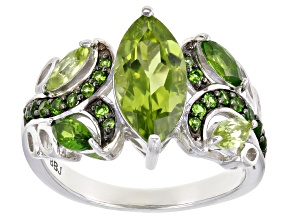 Green peridot rhodium over sterling silver ring 2.18ctw