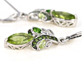 Green peridot rhodium over sterling silver earrings 2.10ctw