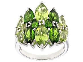 Green peridot rhodium over sterling silver ring 4.98ctw