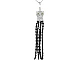 Black spinel rhodium over silver enhancer with chain 7.75ctw