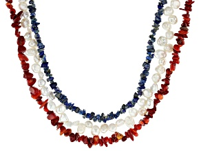 Lapis Lazuli, Coral, and Cultured Freshwater Pearl Rhodium Over Sterling Silver Set of 3 Necklace