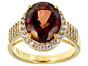 Red Oval Labradorite and Round White Zircon 18k Yellow Gold Over Sterling Silver Ring 4.10ctw